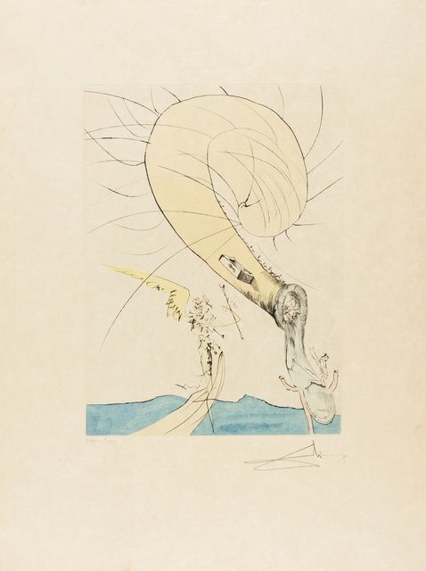 Salvador Dalí, 'Freud with a Snail Head (Field 74-8G; M&L 672d)', 1974, Print, Etching with extensive handcolouring, Forum Auctions