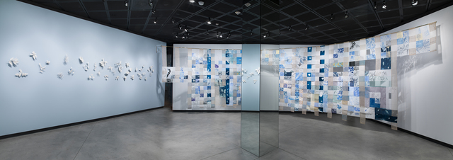 Fran Siegel, 'Lineage through Landscape: Tracing Egun in Brazil', 2015-2017, Installation, Suspended Drawing: pencil, pigment, gold leaf, string, and collage on cut drafting film, scrim, cyanotype, sewn and printed fabric. Leaves: porcelain, Fowler Museum at UCLA