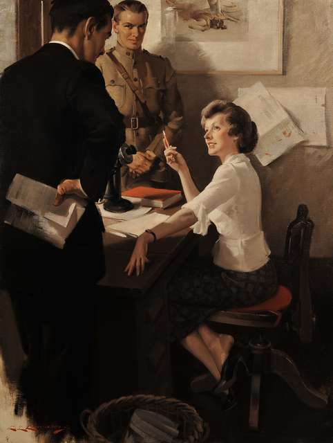 Charles E. Chambers, 'She Answers The Question', 1920, Painting, Oil on Canvas, The Illustrated Gallery