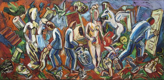 Viola Frey, 'Studio View: Three Blue Suits and Nude ', 1986, Nancy Hoffman Gallery