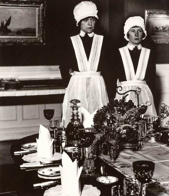 Bill Brandt, 'Parlourmaid and under-parlourmaid ready to serve dinner', 1934, Doyle