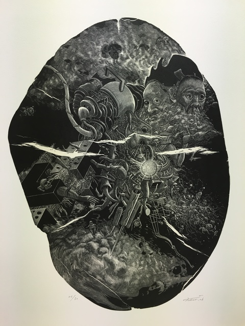 Takehiro Nikai, 'Cloud', 2006, Drawing, Collage or other Work on Paper, Print from wood engraving, Micheko Galerie