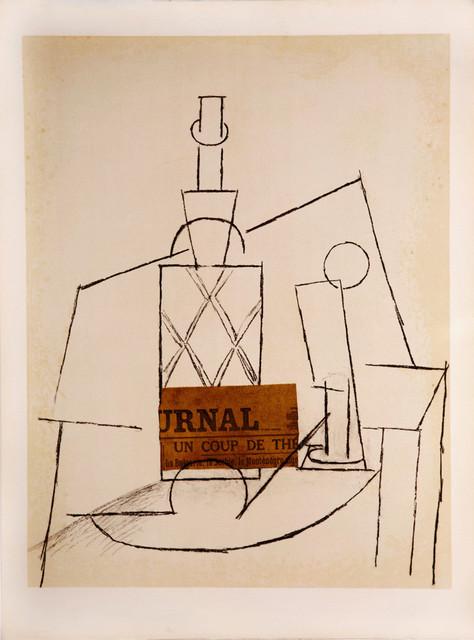 , 'Papiers Collés Series, Bouteille de Rhum Paillée, Verre et 'Le Journal',' 1966, Zuleika Gallery