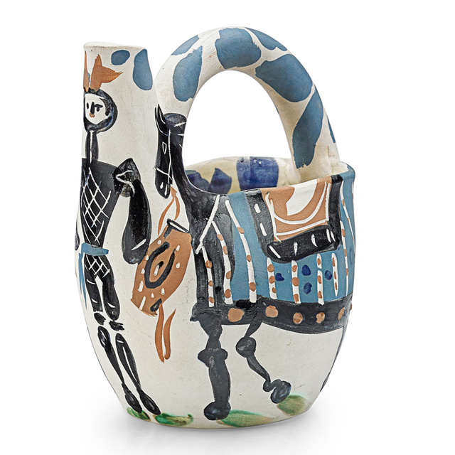 """Pablo Picasso, 'Vase, """"Cavalier And Horse (Cavalier Et Cheval)"""", France', des. 1952, Design/Decorative Art, Glazed And Incised Earthenware Decorated In Engobe, Rago/Wright"""