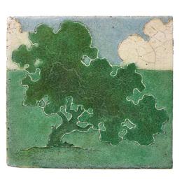 Tile decorated in cuerda seca with oak tree (framed), Boston, MA