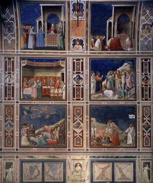 Giotto (Giotto di Bondone), 'Frescoes on north wall of Scrovegni (Arena) Chapel,' 1305-1306, Art History 101