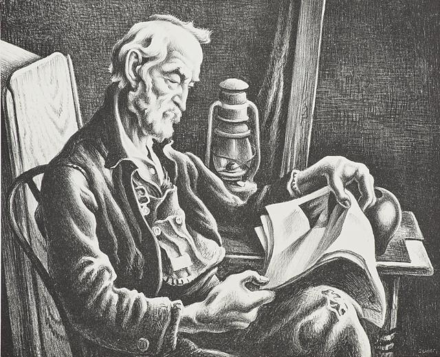 Thomas Hart Benton, 'Old Man Reading', 1939, Print, Lithograph, Rago/Wright