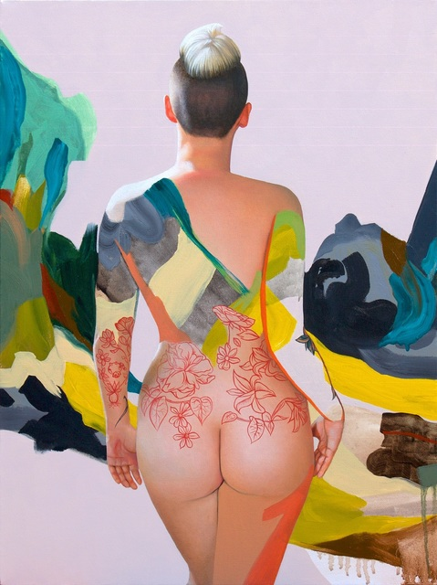 Kim Leutwyler, 'Kim with Blue and Green', 2018, Painting, Oil and acrylic on canvas, Gallery at Zhou B Art Center