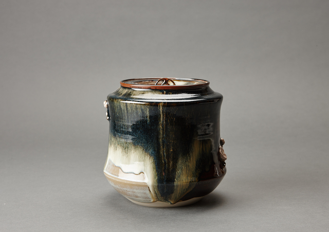 Miraku Kamei XV, 'Water container (mizusashi) with ceramic lid, cherry handles, and kakewake', ca. 2016, Pucker Gallery