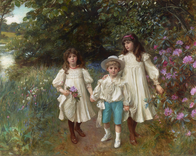 George Harcourt, 'Muriel, Cynthia and George ', 1900,  M.S. Rau