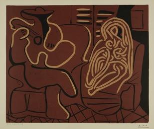 L'Aubade, avec femme dans un fauteuil (Femme dans un fauteuil et guitariste): two prints (B. 917; Ba. 1232)