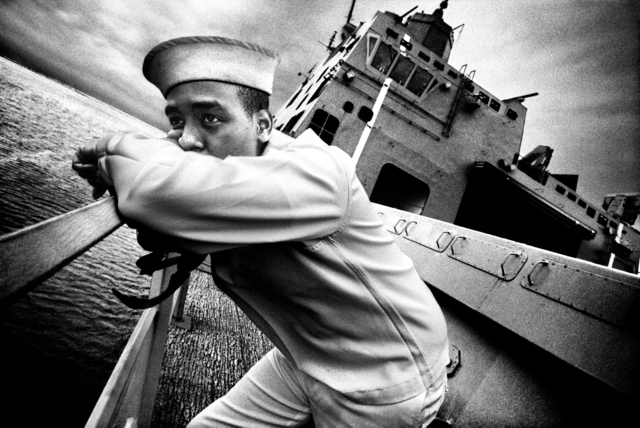 , 'SERVICE: Seaman Kevin Dean stands on the deck of the USS San Antonio. Norfolk, VA.,' 2008, Milk Gallery