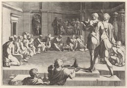 Domenico del Barbiere after Francesco Primaticcio, 'The Banquet of Alexander the Great', 1544/46, Print, Engraving on laid paper, National Gallery of Art, Washington, D.C.