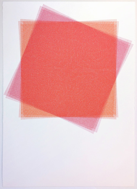 , '16 Layers, Red and Pink Square,' 2015, ODETTA