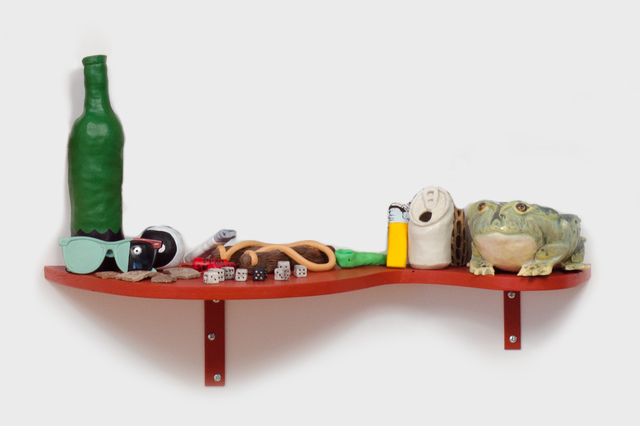 , 'Slow Down Ruby (Frog with Slingshot Shelf),' 2014, Fleisher/Ollman