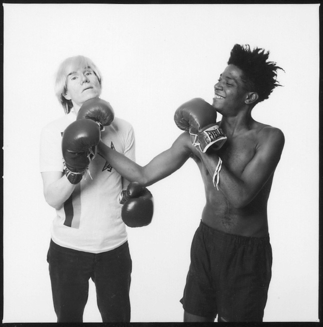 MICHAEL HALSBAND Andy Warhol & Jean-Michel Basquiat #1 (first roll, first frame of the sitting) New York City, July 10, 1985