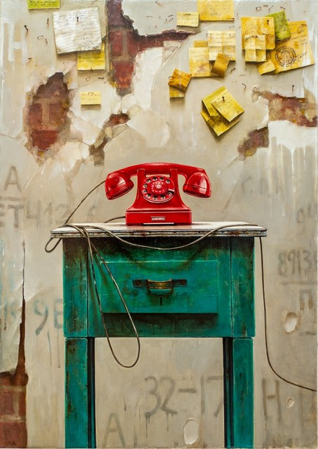 Dmitry Yuzefovich, 'Red Phone - Vibrant still life oil on canvas', 2020, Painting, Oil paint, canvas, Oeno Gallery