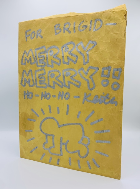 Keith Haring, 'Untitled (Merry Christmas | Radiant Baby)', ca. 1984, Mixed Media, Envelope, Silver marker pen, red ink, Pop Shop stickers, Artificial Gallery