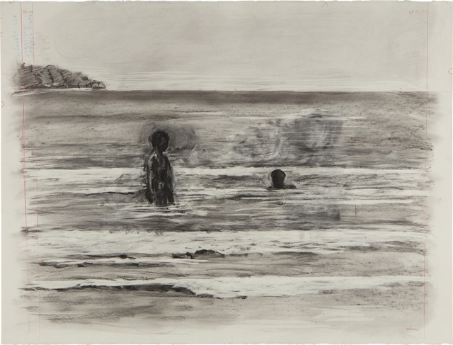 William Kentridge, 'Drawing from Tide Table (Two People in Ocean)', 2003, Phillips