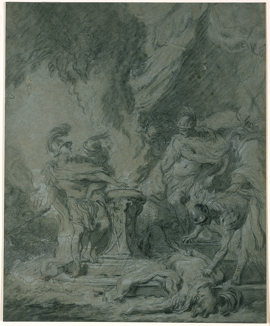 François Boucher, 'Mucius Scaevola Putting His Hand in the Fire', 1726, Blanton Museum of Art