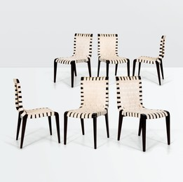 six chairs with a wooden structure and fabric seats