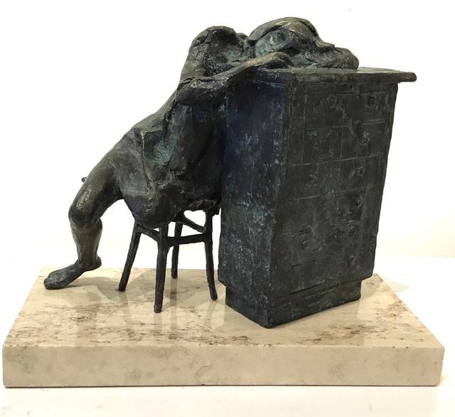 """Stanley Bleifeld, '""""Day Dreaming"""" bronze sculpture of a girl resting on a bureau', 1969, Eisenhauer Gallery"""