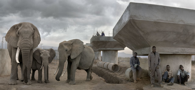 Nick Brandt, 'Bridge Construction with Elephants & Workers in Day', 2018, Fahey/Klein Gallery