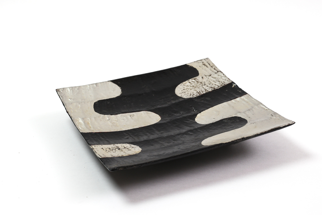, 'Black and silver lacquer ridged tray with legs,' 2017, Ippodo Gallery