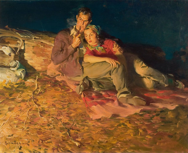 Haddon Sundblom, 'Evening by the Fire', 1930, The Illustrated Gallery