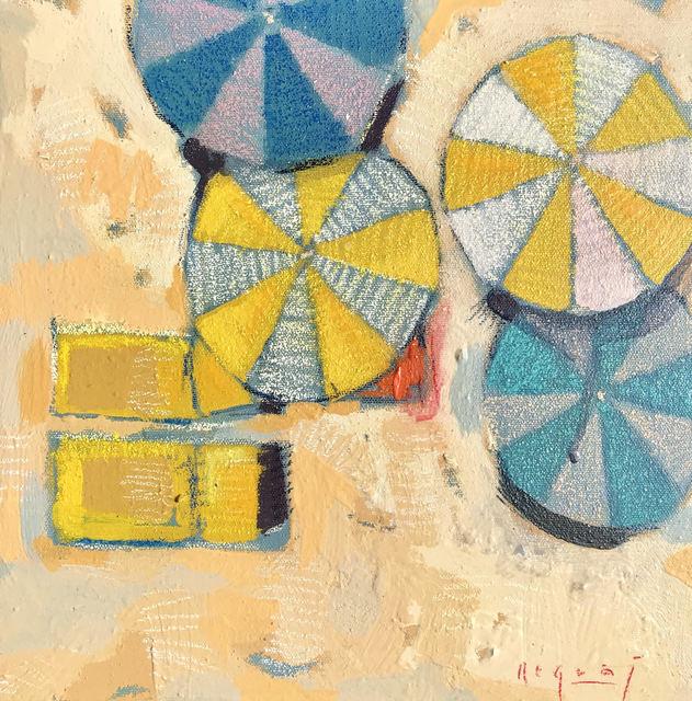 ", '""Shades #2"" Bird's Eye View of Colorful Umbrellas on Sandy Beach,' 2010-2018, Eisenhauer Gallery"