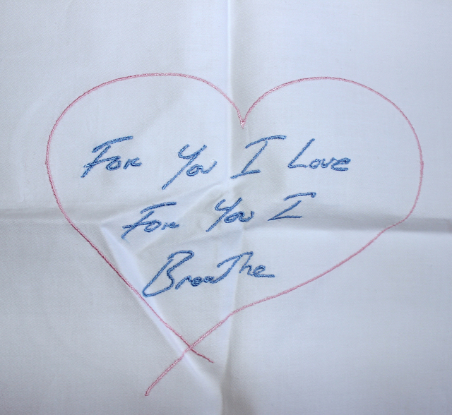 Tracey Emin, 'For You I Love For You I Breathe - Embroidered Napkin', 2012, Mixed Media, Embroidered cotton napkin with hand signed, dated swing tag, Lougher Contemporary