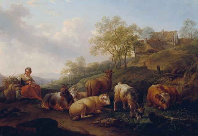 Joseph Roos der Ältere, 'Landscape with grazing cattle', 1766, Painting, Belvedere Museum