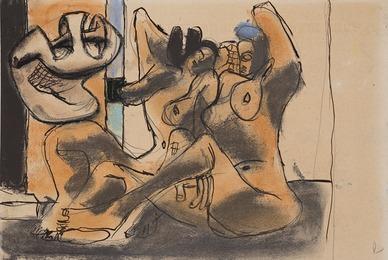Femmes nues et coquillage géant