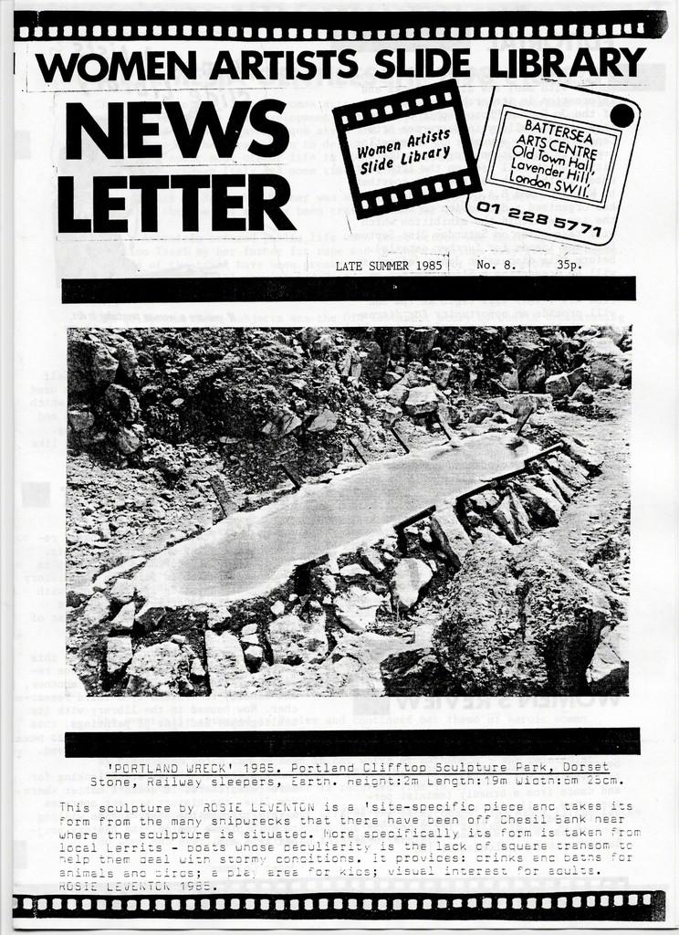 Women Artists Slide Library News Letter, Late Summer 1986, No. 8., Women's Art Library magazine, courtesy of the Women's Art Library, Goldsmiths, University of London