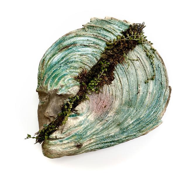 Trish Classe Gianakis, 'Split', 2020, Sculpture, Raku Ceramic, live moss, live pearl vine plants mounted on wood, SHIM Art Network
