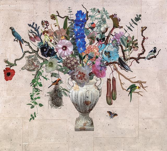 Jane Hammond, 'Garden Urn with Delphinium, Altamira Oriole and Pitcher Plants', 2019, Lyndsey Ingram