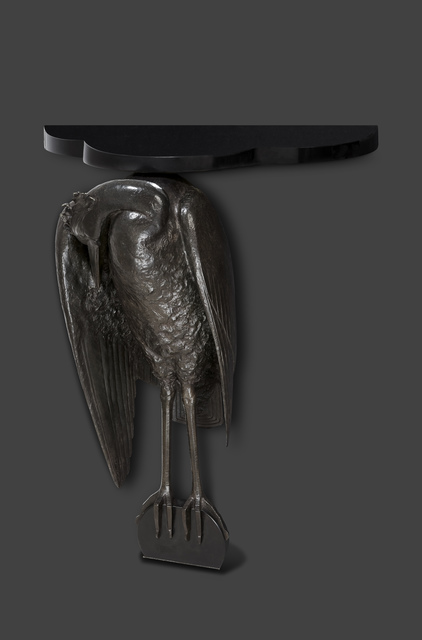 , 'Heron console in green patinated bronze with black Belgian marble base and top,' ca. 1925, DeLorenzo Gallery