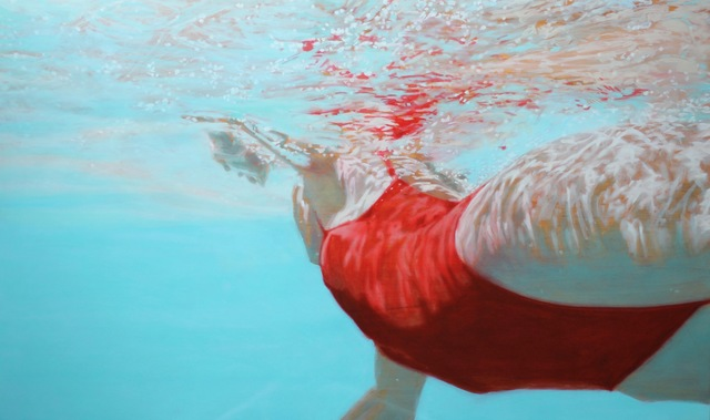 ", '""Water Colors"" Woman Swimming in Red Bathing Suit with Reflections on Water,' , Eisenhauer Gallery"