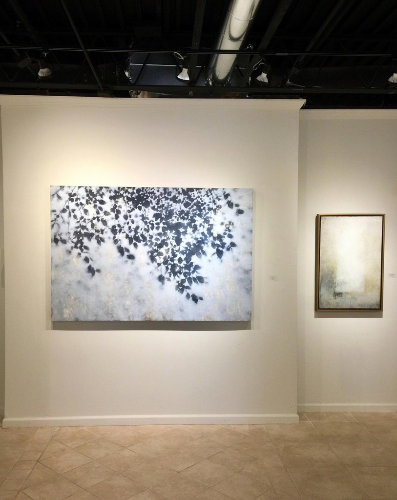 Signs of Spring exhibition, (L) David Kidd, Grey Morning, acrylic on panel, 48 x 72 inches; (R) Scott Upton, Shades and Shadows, mixed media on canvas, 36 x 24 inches