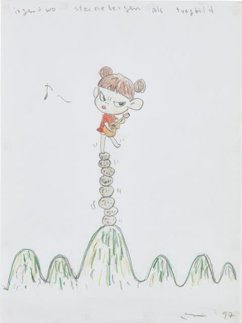 Yoshitomo Nara, 'Untitled (Irgendwo Steinebergen als Tragbild)', 1997, Phillips