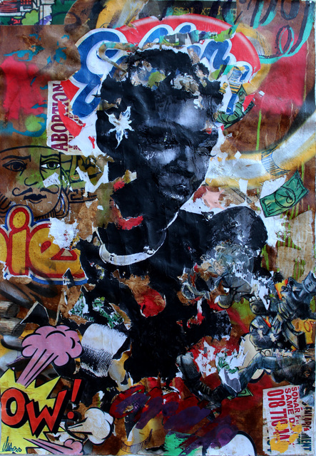 Mncedi Madolo, 'Golden Cloud 4', 2020, Painting, Spray paint and collage on canvas, WORLDART