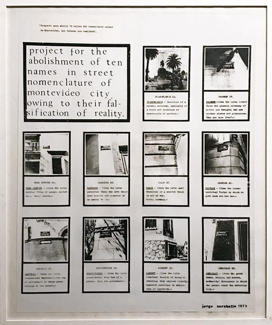 , 'Proyecto (versión ingles),' 1973, Galería del Paseo