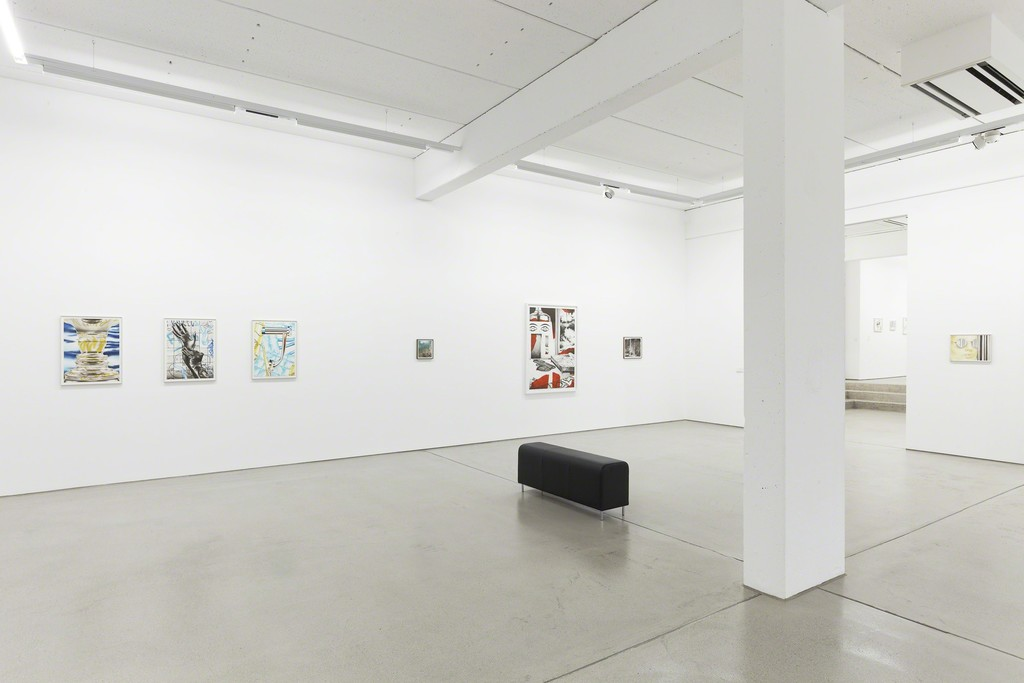 "Installation view of the two person show ""Through a Glass, Clearly"" by Sebastian Burger and Stefan Guggisberg, G2 Kunsthalle, Leipzig (Germany), September 9, 2016 – January 15, 2017, from left to right: 3 compositions by Sebastian Burger followed by the small piece ""Zentren"" (2012/2016, oil on paper, 25 x 22 cm) by Stefan Guggisberg and more works by both artists (alternating), photo: Dotgain © the artists & G2 Kunsthalle, Leipzig."