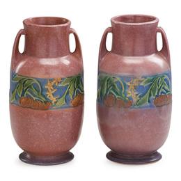 "Two 9"" pink Baneda vases, Zanesville, OH"
