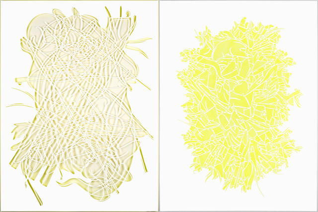 , 'Untitled (Yellow Cut-Out Collage Diptych),' 2017, VICTORI+MO CONTEMPORARY