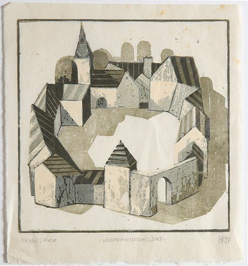 Hans Christian Rüngeler, 'Niederrheinisches Dorf', 1997, Print, Woodcut, Sylvan Cole Gallery