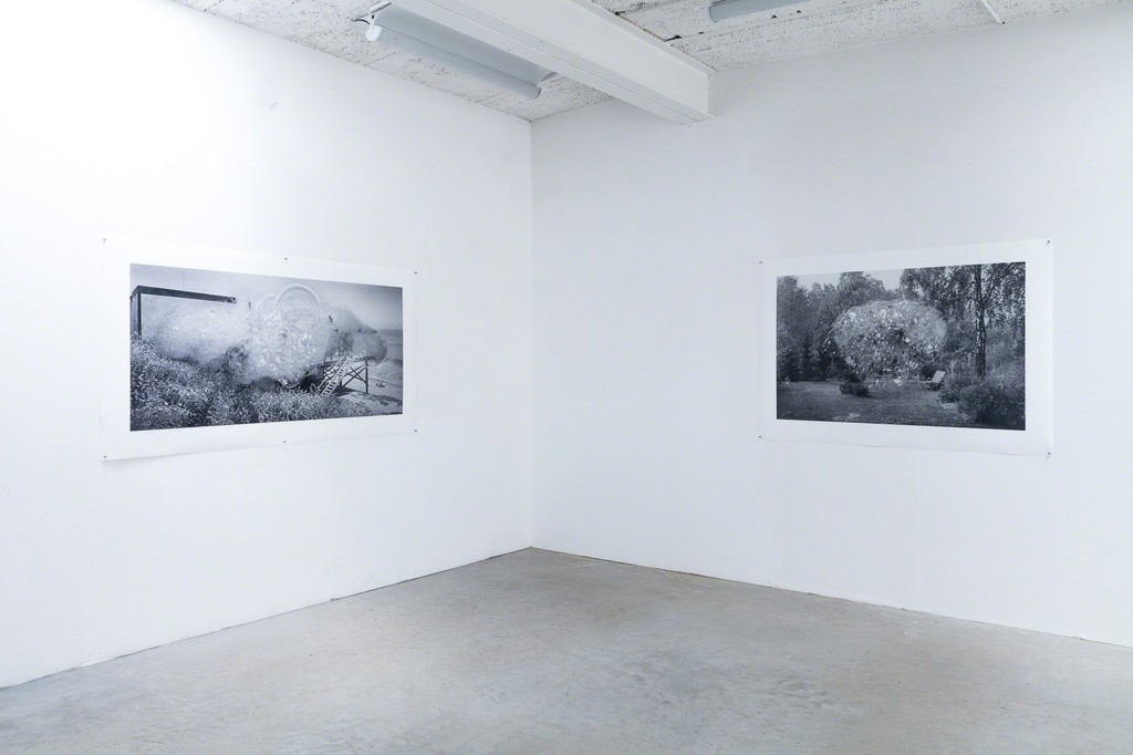 exhibition view: (left) Holliday homes series, On the shore of the Pacific coast, 2017 | archival pigment print on 220 gsm.Innova smooth Art paper, 97x183cm and (right) Holliday homes series, On the banks of the river Havel, 2017 | archival pigment print on 220 gsm.Innova smooth Art paper, 103x149cm