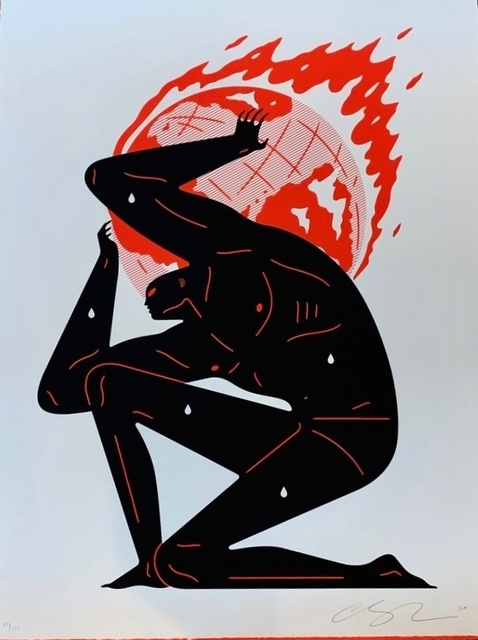 Cleon Peterson, 'World on Fire (White)', 2020, Print, Hand pulled black and red screen print on 290 gsm Arches Rag paper with deckled edges. Artwork, Artsy x Forum Auctions