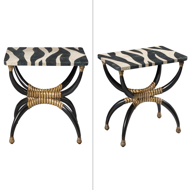 'Pair of Faux Zebra Painted Marble and Wood Side Tables, Modern', Design/Decorative Art, Doyle