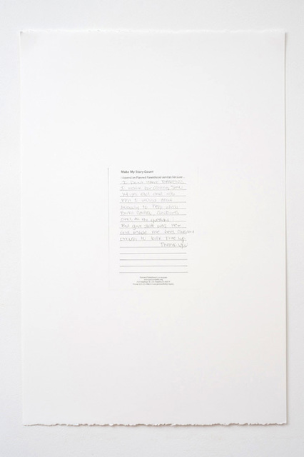 , 'Make My Story Count, Letters to Planned Parenthood (I Don't Have Parents),' 2011, Andrew Kreps